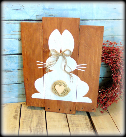 Pallet Style Easter Sign, Bunny Silhouette Wall Art, Handmade Wooden Rustic Spring Plaque
