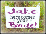 Here Comes Your Bride, Ring Bearer Sign, Custom Wedding Photo Prop