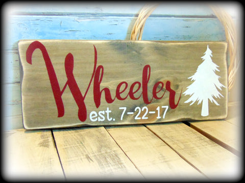 Pine Tree Home Decor, Rustic Wedding Gift, Personalized Family Name Sign