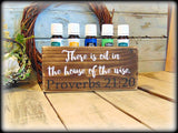 There is oil in the house of the wise, Essential Oil Storage Shelf, Oil Holder and Display