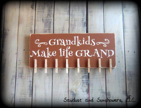 Grandkids Make Life Grand - Rustic Wooden Sign - Hand Painted Wood Plaque - Alternative Photo Holder - Gift For Grandparents