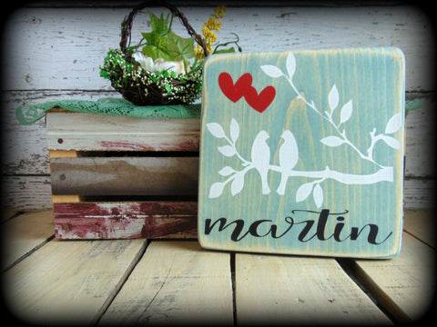 Wedding Sign, Engagement Gift, Rustic Wooden Decor, Blue Plaque, Last Name Sign, Gifts Under 20, Love Birds, Gallery Wall Sign,Handmade Sign