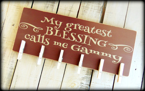 Alternative Grandma's Brag Book - My Greatest Blessing - Mother's Day Gift - Rustic Wooden Sign