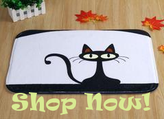 adorable black cat doormat from i love cat socks