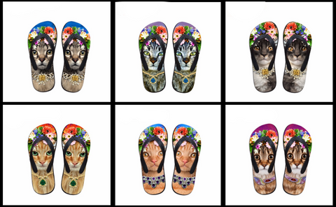Cats with Crowns Flip Flops at I Love Cat Socks