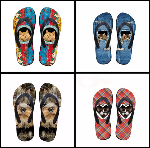 Cat and Dog Flip Flops at I Love Cat Socks