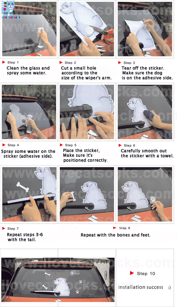 Gray Puppy Rear Wiper Decal Installation Instructions