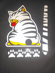 White Rear Wiper Cat Decal