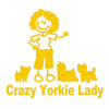 Crazy Yorkie Lady Car Decal