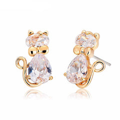 Double Stone Cat Stud Earrings