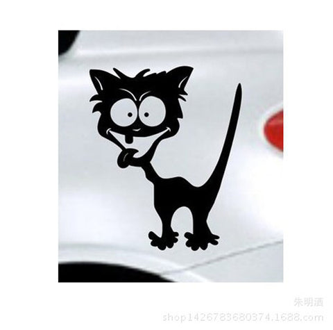 Funny Crazy Cat Reflective Car Decals - I Love Cat Socks