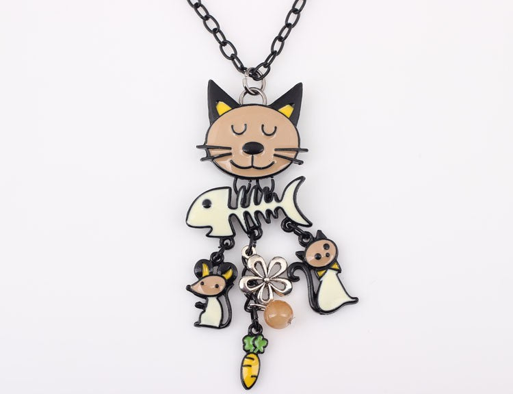 Long Chain Cat Necklace
