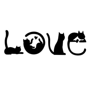 Cats Spell LOVE  Car Decals - I Love Cat Socks