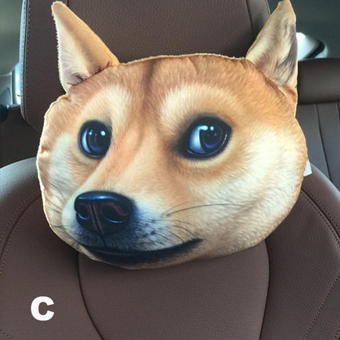 Image of Dog Face Car Headrest Pillow - I Love Cat Socks