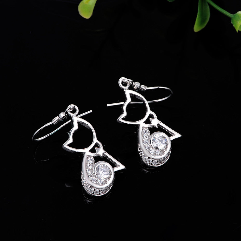 Cute Cat Silver Earrings - I Love Cat Socks