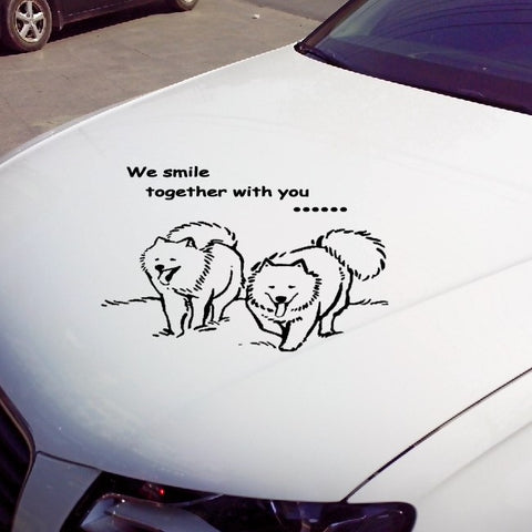 We Smile Together With You Samoyed Dog Car Decal