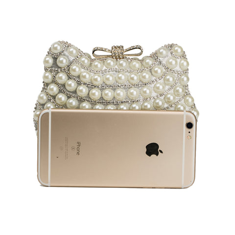 Image of Pearl Evening Bag Cat Design