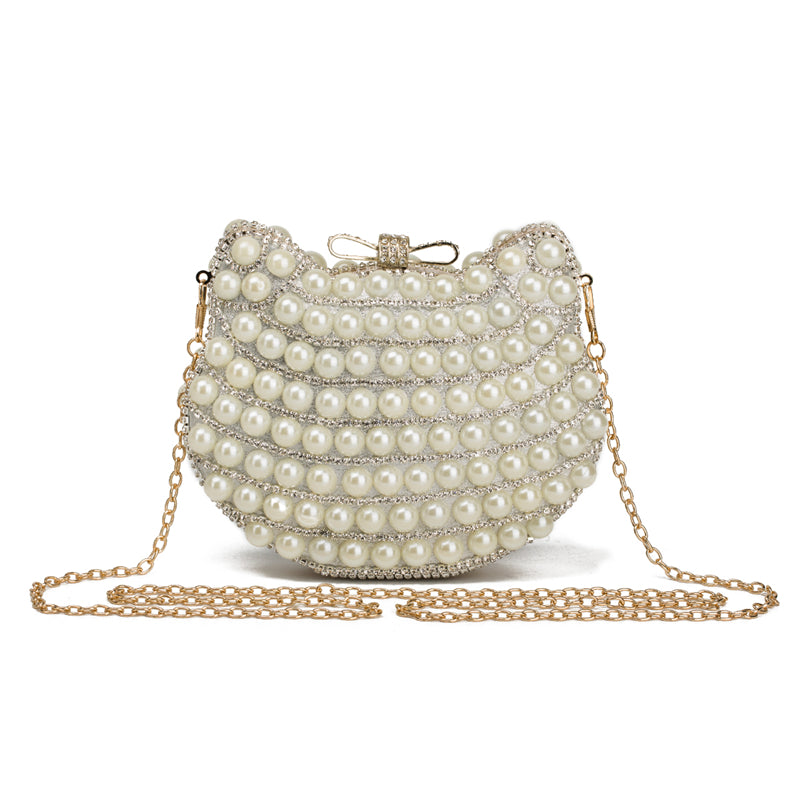 Cat Design Pearl Handbag