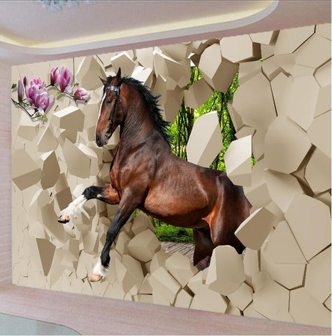 3D Galloping  Horses Wallpaper - I Love Cat Socks