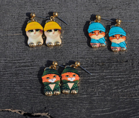 Cat Hat Earrings - I Love Cat Socks