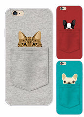 Cats and Dogs in a Pocket  of  Iphone Covers