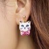 Bunny Cat Pattern Stud Earrings