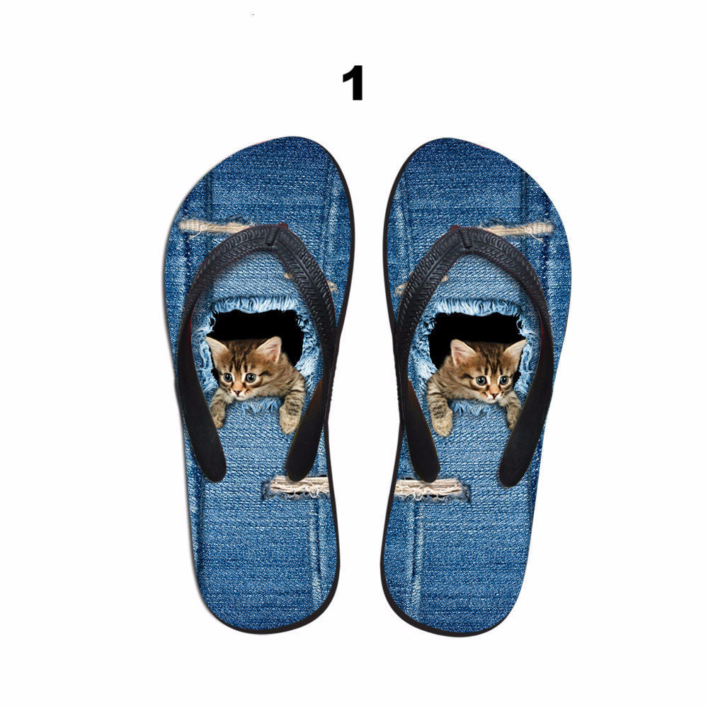 Peeping Cats and Dogs Flip Flops