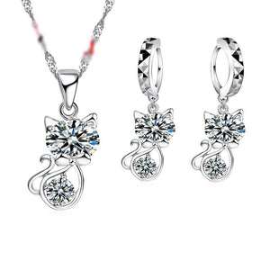 Crystal Cat Jewelry Set