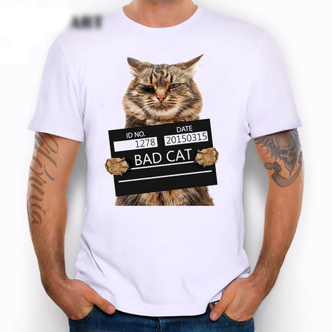 Image of Bad Cat Print T-Shirt - I Love Cat Socks