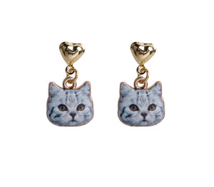 Cat Animal Heart Gold Color Stud Earrings - I Love Cat Socks