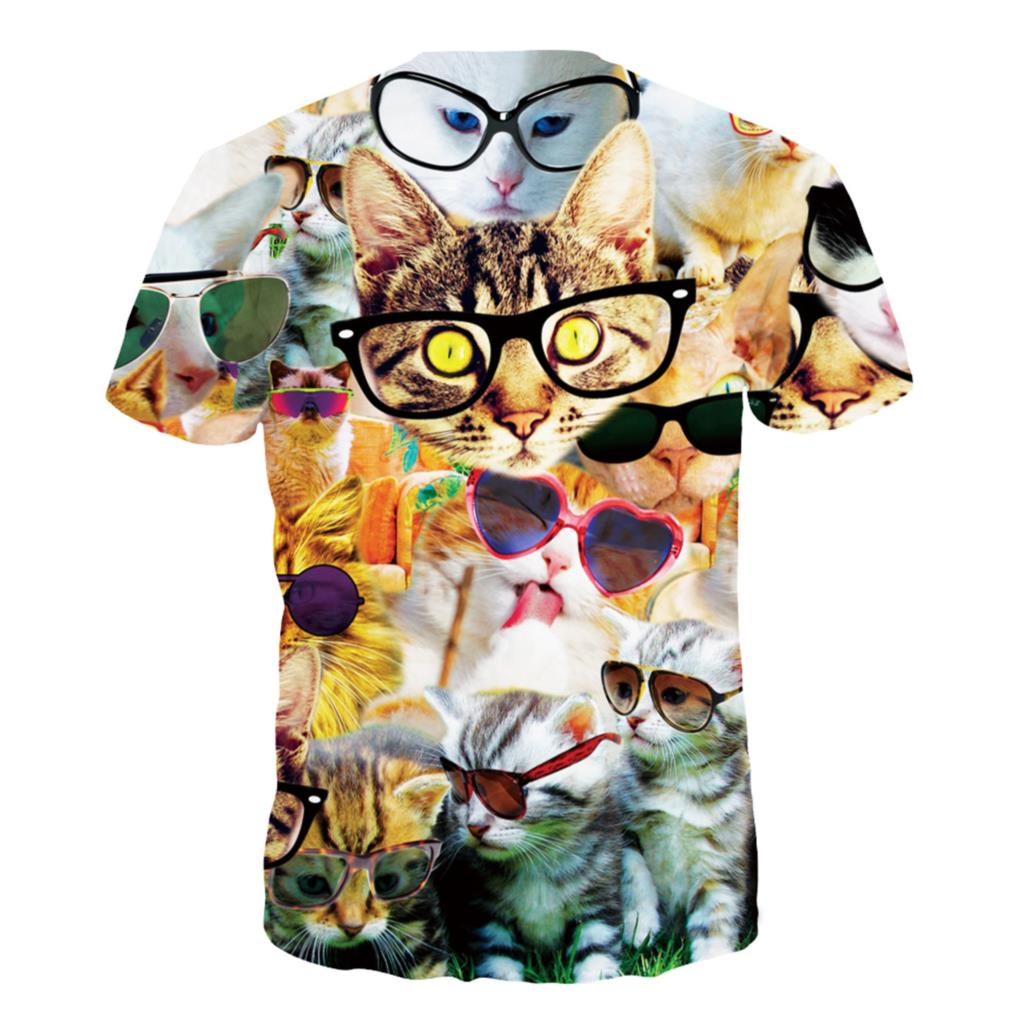 Colorful Cool Cats Printed Shirt For  Women