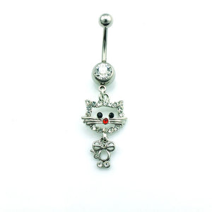 Cat Rhinestone Navel Ring