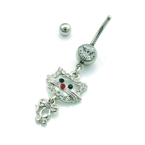 Cat Rhinestone Navel Ring - I Love Cat Socks