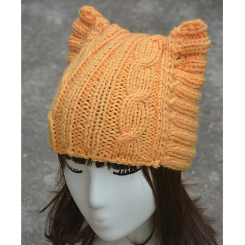 Image of Handmade Cat Ears Knitted Hat