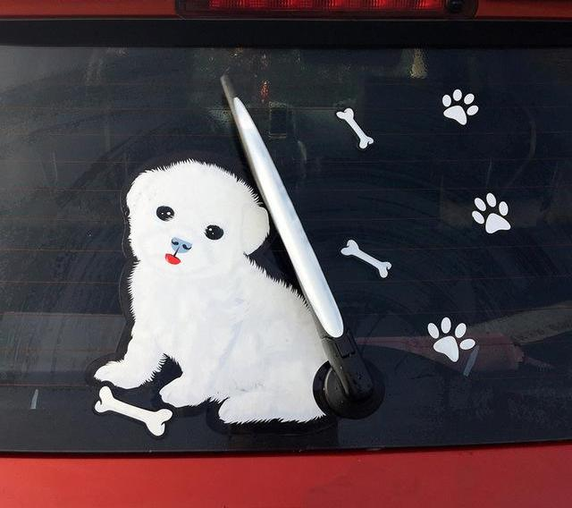 Cute White Puppy Rear Wiper Decal - Brand New! Only available here! - I Love Cat Socks