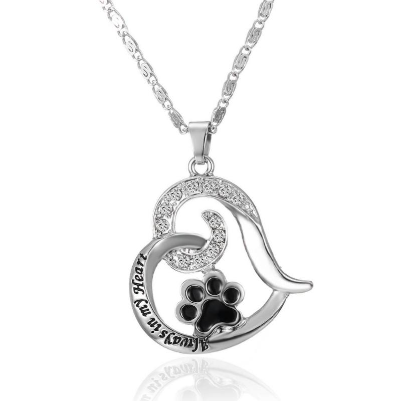 Cat Paw Print Heart Necklace - I Love Cat Socks