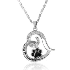 Cat Paw Print Heart Necklace