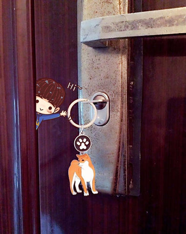 Image of Akita Keychain - I Love Cat Socks