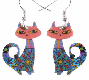 Colorful Cat Flower Dangle Earrings - I Love Cat Socks