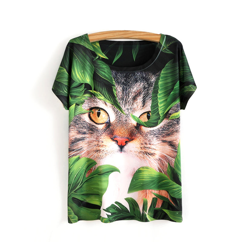 Cat In The Jungle Design Shirt - I Love Cat Socks