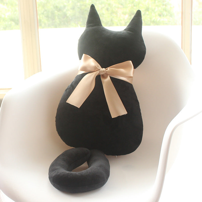 Cute Cat Back Pillow with Ribbon