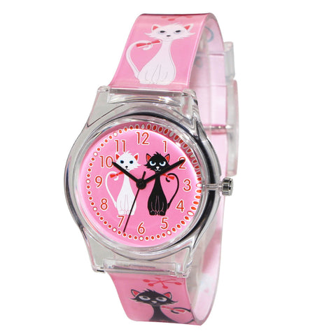 Image of Cat Pink Wrist Watch - I Love Cat Socks