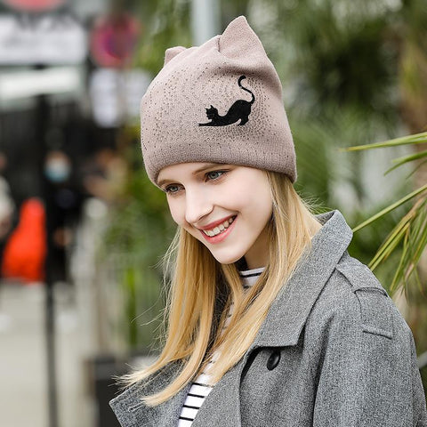 Image of Bow-Knot Cut Cat Knitted Beanie - I Love Cat Socks