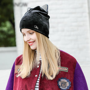 Rhinestone Cat Ear Winter Beanie