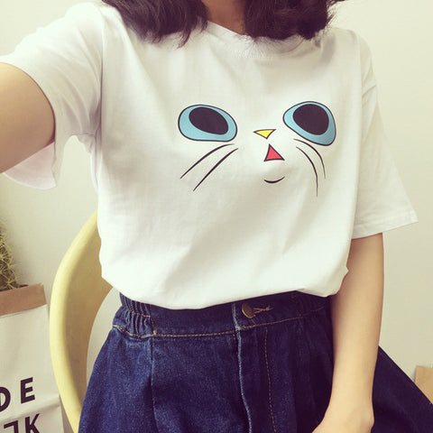 Image of Cute Little Cat Face Printed Shirt For Women - I Love Cat Socks
