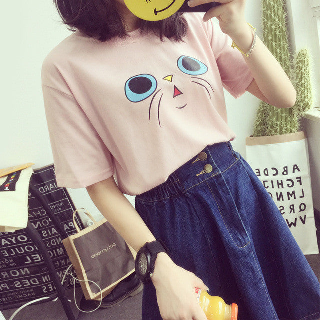 Cute Little Cat Face Printed Shirt For Women - I Love Cat Socks