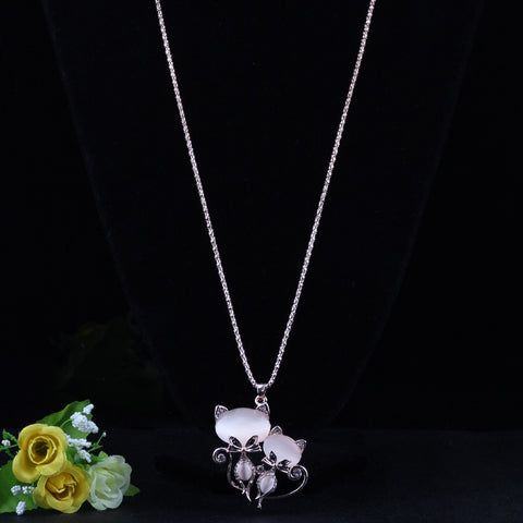 Image of Cat Long Pendant Necklace - I Love Cat Socks