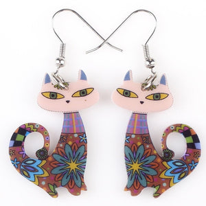 Colorful Cat Flower Dangle Earrings