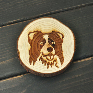 Border Collie Unique Wooden Coaster - I Love Cat Socks