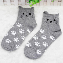 Cat with Cat Paw Print Socks